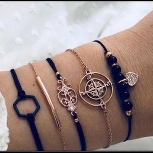 5 Piece Layered Bracelets Set Black & Gold 🎁